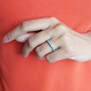 The Light Blue Evil Eye Band Ring