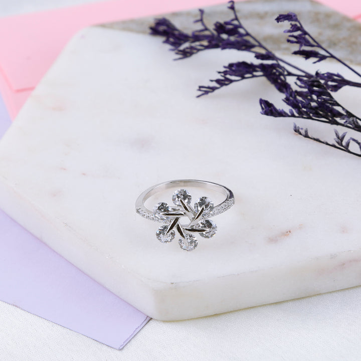 The Dancing Diamond Spiral Flower Ring