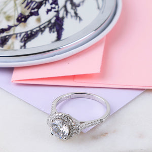 The Halo and Cz Garland Solitaire Ring