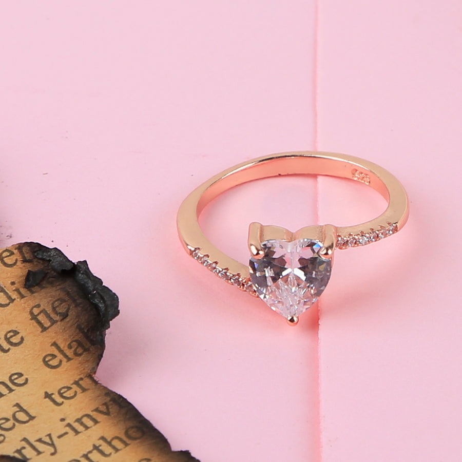 The Rosegold Heart Solitaire Ring