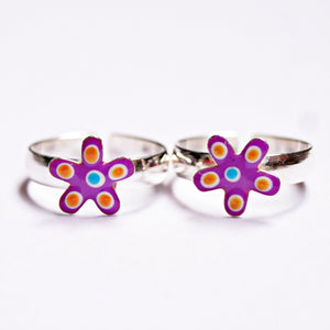 The Colourful Flower Toe Rings