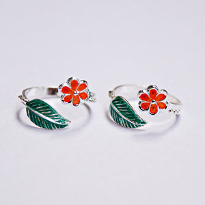 The Colourful Flower and Leaf Toe Rings