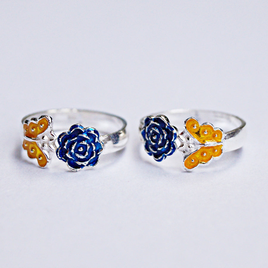 The Colourful Flower and Butterfly Toe Rings