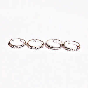 The Distinct Cuts and Infinity Band Toe Rings (Set of 4)