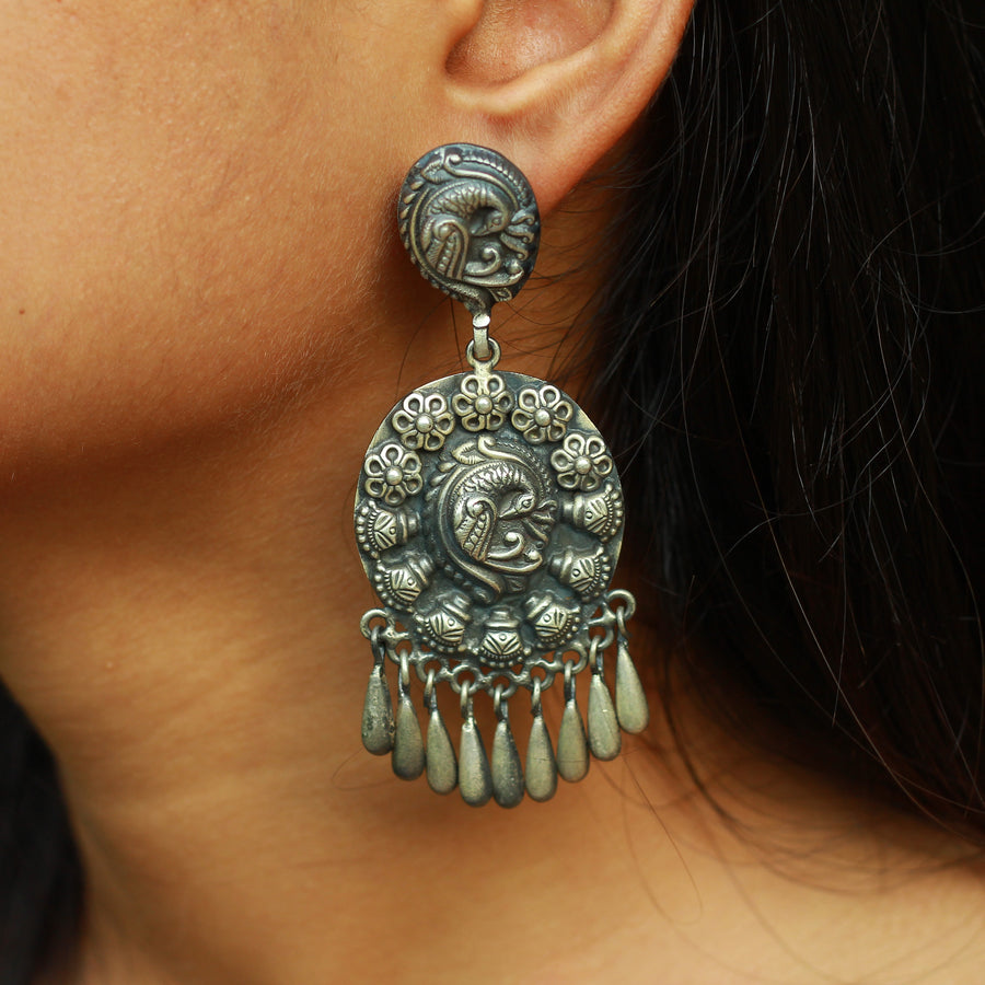 The Dancing Peacock Oxidized Silver Jhumkas