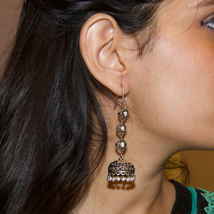 The Marcasite Earrings with Heart Hoops