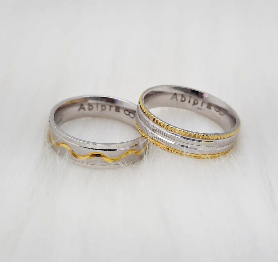 Customised Name Carved Love Ring Band (Pair)