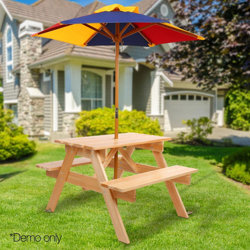 Outstanding Keezi Kids Wooden Picnic Table Set With Umbrella Decor Download Free Architecture Designs Scobabritishbridgeorg