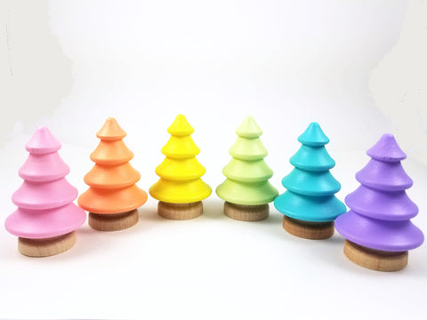 Pastel wooden tree set