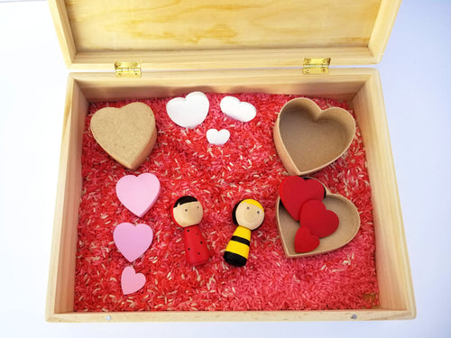 Valentine's day sensory box with tools - Wonder's Journey