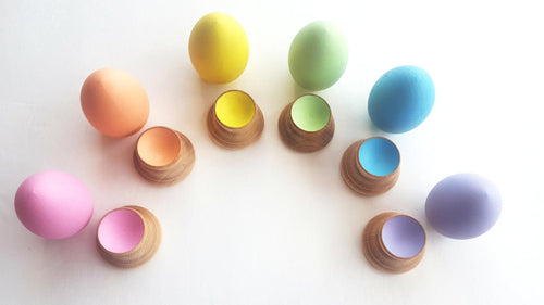 Montessori wooden egg and cup puzzle - Wonder's Journey