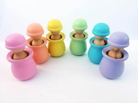 Pastel color matching peg dolls