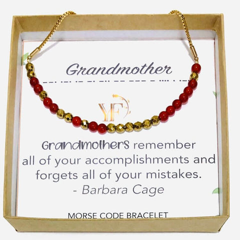 GRANDMOTHER - Morse Code Bracelet Made with Gemstones