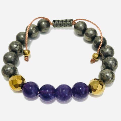 amethyst and pyrite bracelet combination