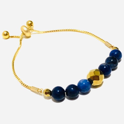 gold-plated hematite and blue sodalite gemstone combination