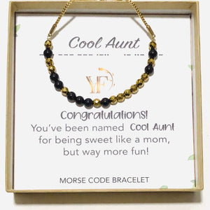 COOL AUNT - Morse Code Bracelet Made with Gemstones