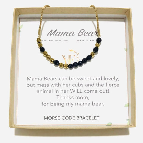 MAMA BEAR - Morse Code Bracelet Made with Gemstones