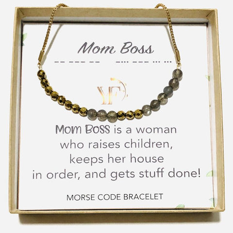 MOM BOSS - Morse Code Bracelet Made with Gemstones