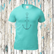 """Thin Anchor"" Kerle BIO Shirt (Water Mint) - Ankerglanz"