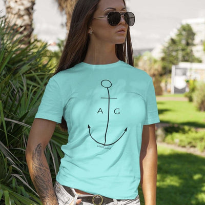 """Thin Anchor"" Mädels BIO Shirt (Water Mint) - Ankerglanz"