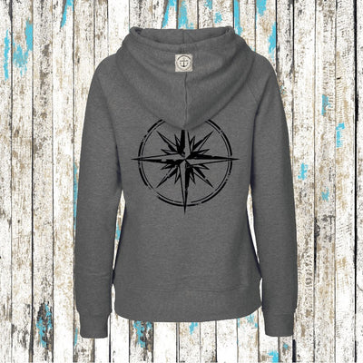 """WINDROSE"" Mädels Bio Hoodie (Grey/Black) - Ankerglanz"