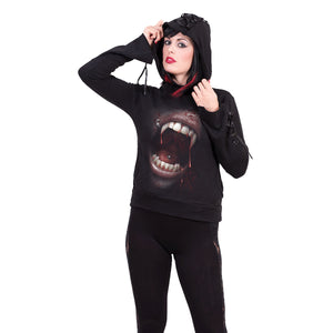 GOTH FANGS - Black Ribbon Gothic Hoody Black