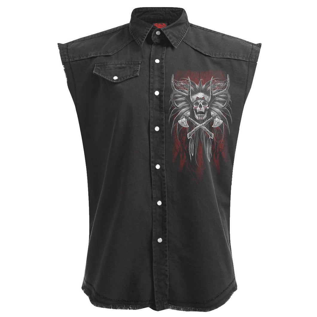 TRIBAL DREAMS - Sleeveless Stone Washed Worker Black
