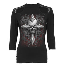 Load image into Gallery viewer, CROSS OF DARKNESS - Lace Shoulder 3/4 Sleeve Top