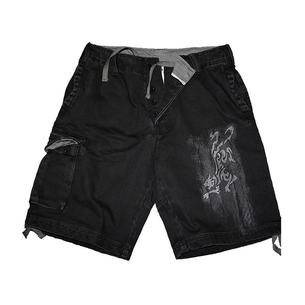 WHITE TIGER  - Vintage Cargo Shorts Black