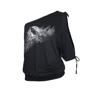 GOTH NIGHTS (GIRLS)  - One Shoulder Baggy Top Black