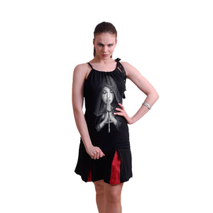GOTH PRAYER  - Ribbon Camisole Top Black