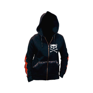 BEWARE THE BEAR  - Zip Sleeve Hoody Red Black