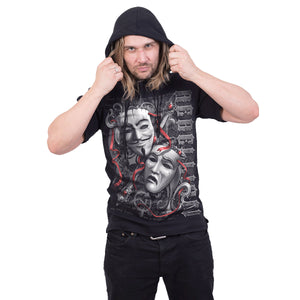 REBELLION - Fine Cotton T-shirt Hoody Black
