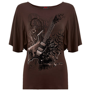 NIGHT RIFFS - Boat Neck Bat Sleeve Top Chocolate