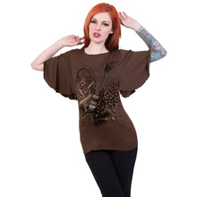 Load image into Gallery viewer, NIGHT RIFFS - Boat Neck Bat Sleeve Top Chocolate