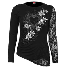 Load image into Gallery viewer, PURE OF HEART - One Lace Sleeve Gathered Top