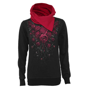 BLOOD ROSE - Shawl Neck Red Hood Kangaroo Top Black