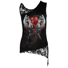 Load image into Gallery viewer, HANDS OF SORROW - Adj Shoulder Lace Top Black
