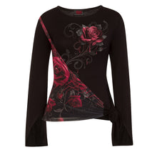Load image into Gallery viewer, ROSE SLANT - Blood Rose Sash Wrap Goth Sleeve Top