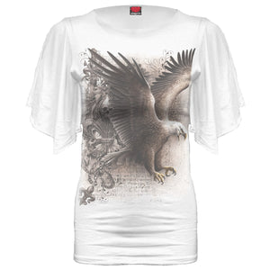 WINGS OF FREEDOM - Latin Boat Neck Top White
