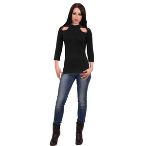 GOTHIC ELEGANCE - Lace Shoulder 3/4 Sleeve Top