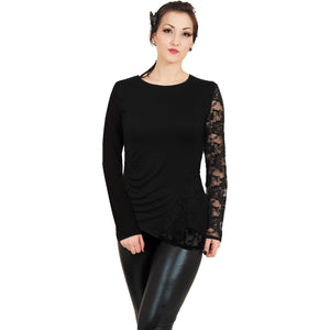 GOTHIC ELEGANCE - One Lace Sleeve Gathered Top