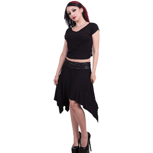 GOTHIC ELEGANCE - Lace Back Crop Top Black