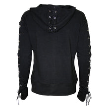 Load image into Gallery viewer, GOTHIC ROCK - Laceup Full Zip Glitter Hoody Black