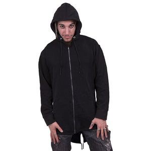 GOTHIC ROCK - Mens Fish Tail Zipper Hoody - Zip Sleeves