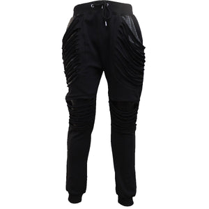 GOTHIC ROCK - Joggers Slashed with Pu Leather Inserts