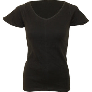 URBAN FASHION - Cap Sleeve V NeckTop Black