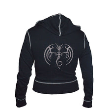 Load image into Gallery viewer, SERPENT AURA - STUDS  - Cream Zip Cream Stitch Hoody Black