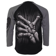 Load image into Gallery viewer, DEATH GRIP - Raglan Contrast Longsleeve Charcoal Black