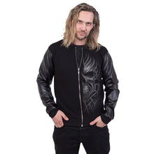 Load image into Gallery viewer, DEATH RAGE - Bomber Jacket with PU Leather Sleeves